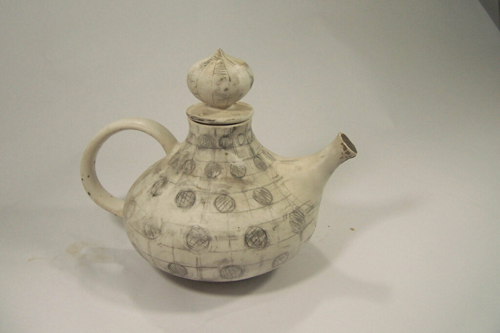 Teapot with pattern scketched in pencil by Weston