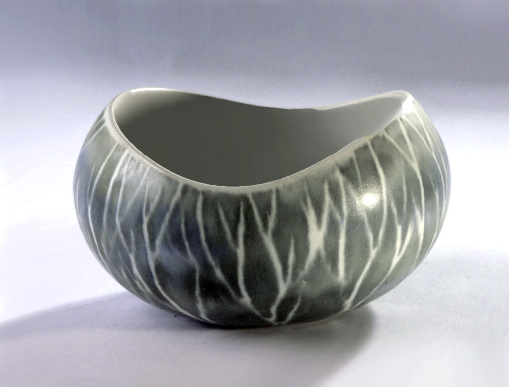 Small Serving Dish with Curved Oval Lip in Gray Birch