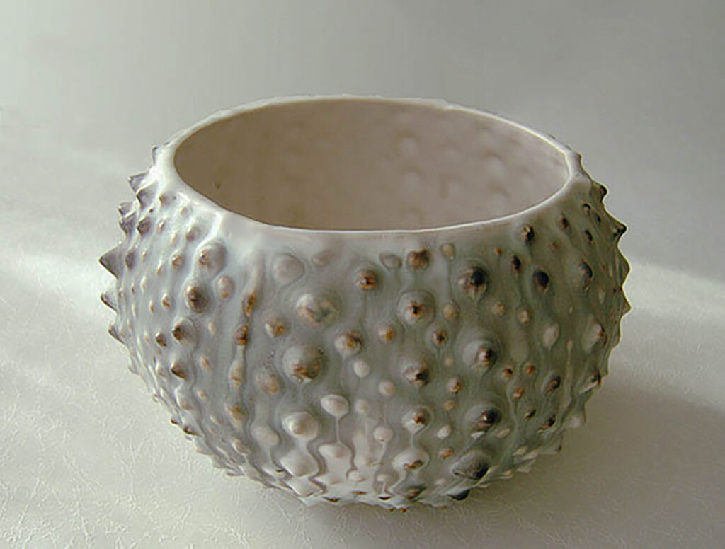 Small Sea Urchin Bowl in traditional gray, black and while finish