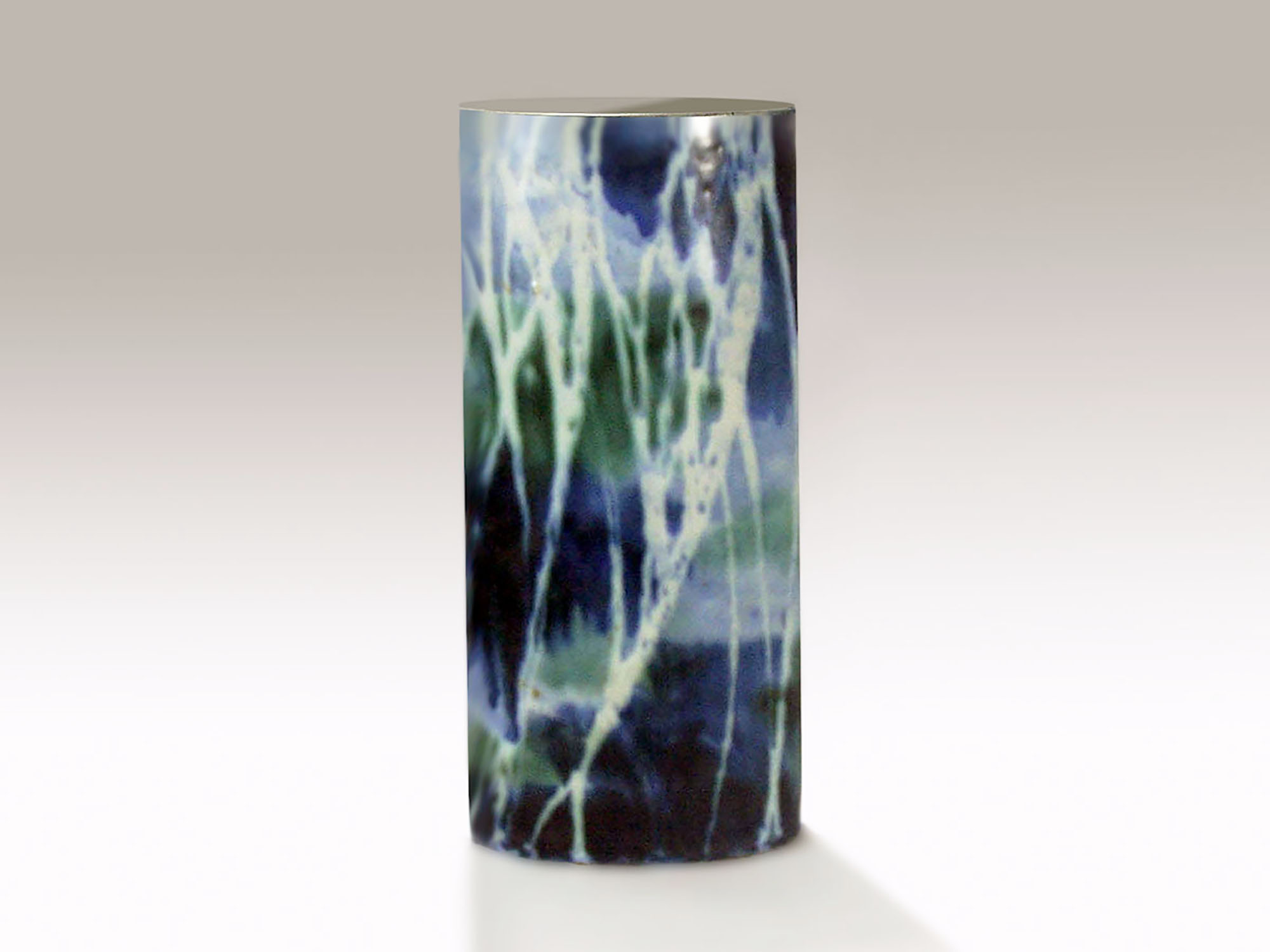 Talll Oval Cylinder Vase in Blue Green Birch Tee by Brenda