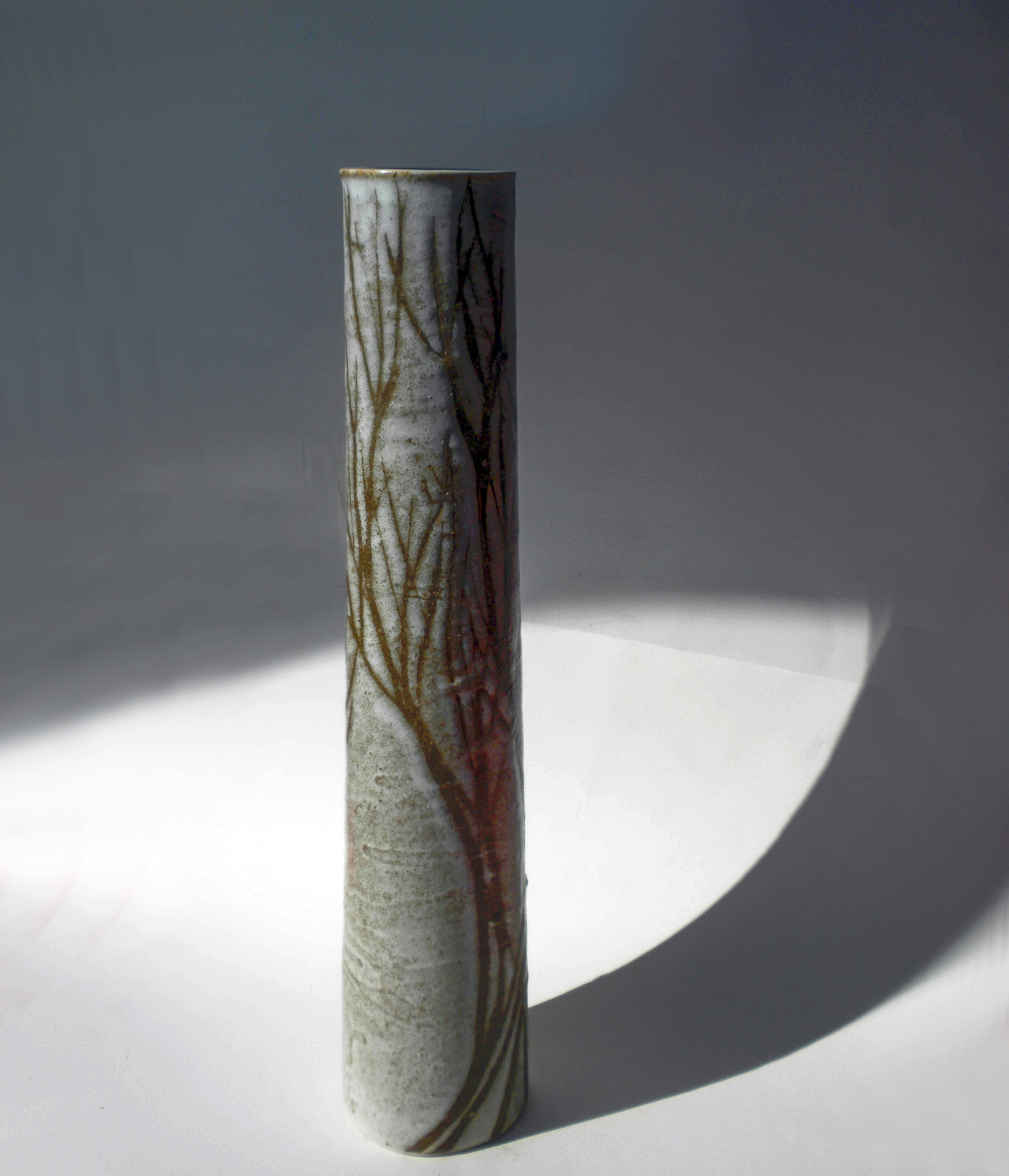 Tall Column Vase in Brown Tree