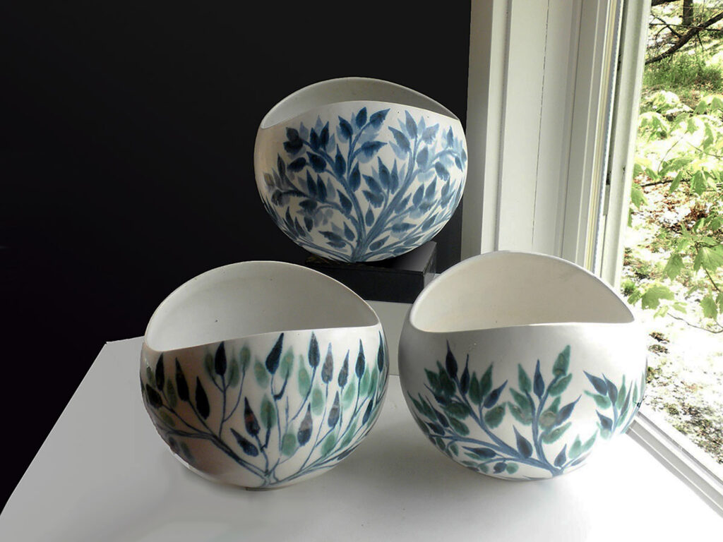 Three Large Salad Bowls decorated in Leaf Pattern By Brenda Andersen