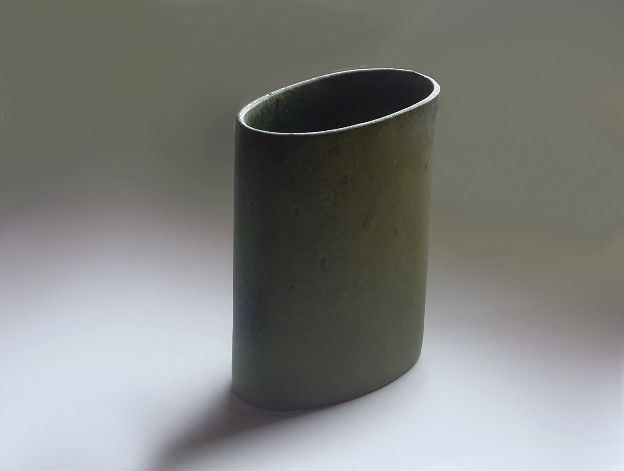 Short Oval Cylinder Vase in Moss Green Glaze