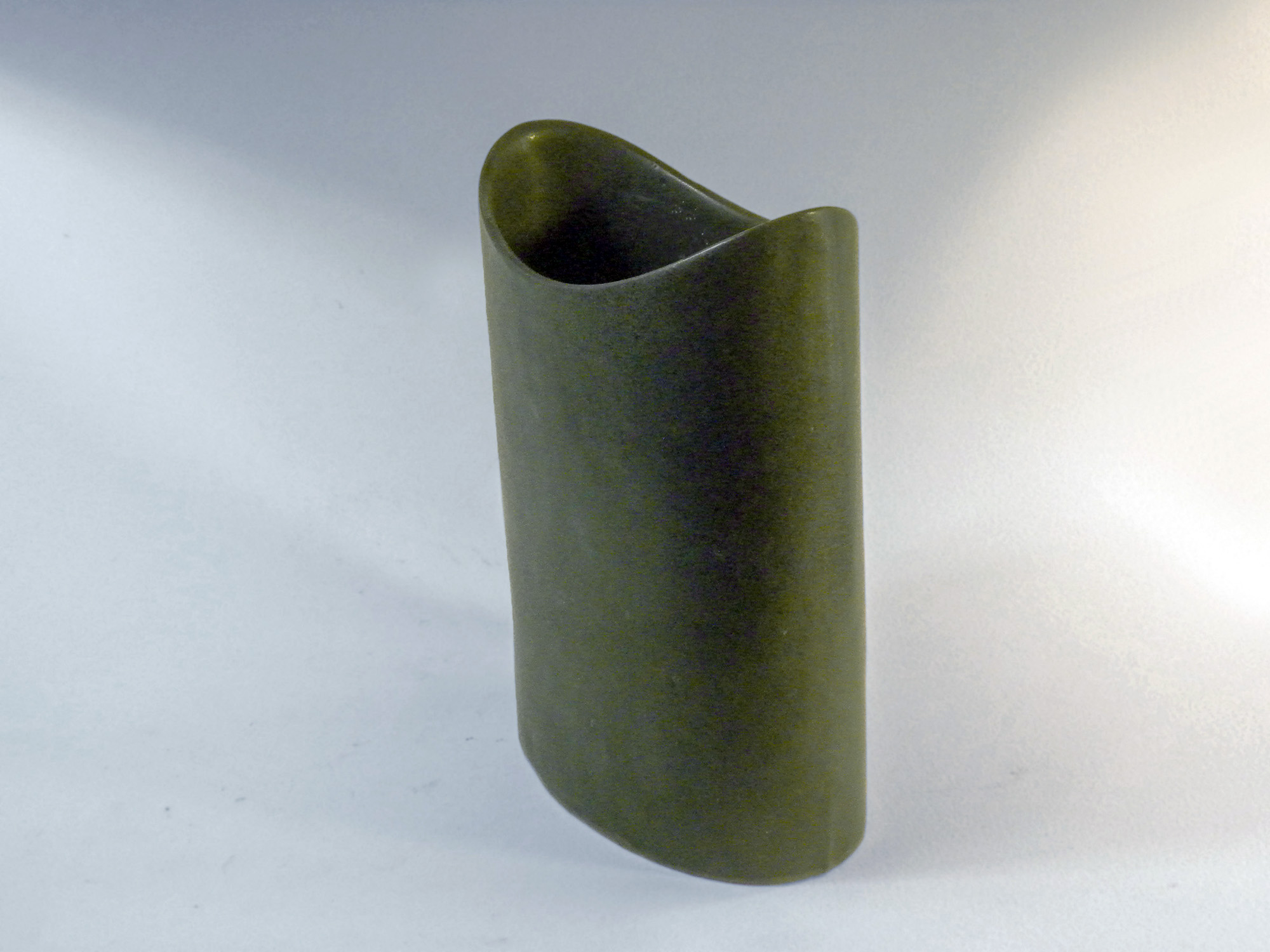 Short Oval Cylinder Vase in Moss Green Glaze vase curved opening, in Moss Green
