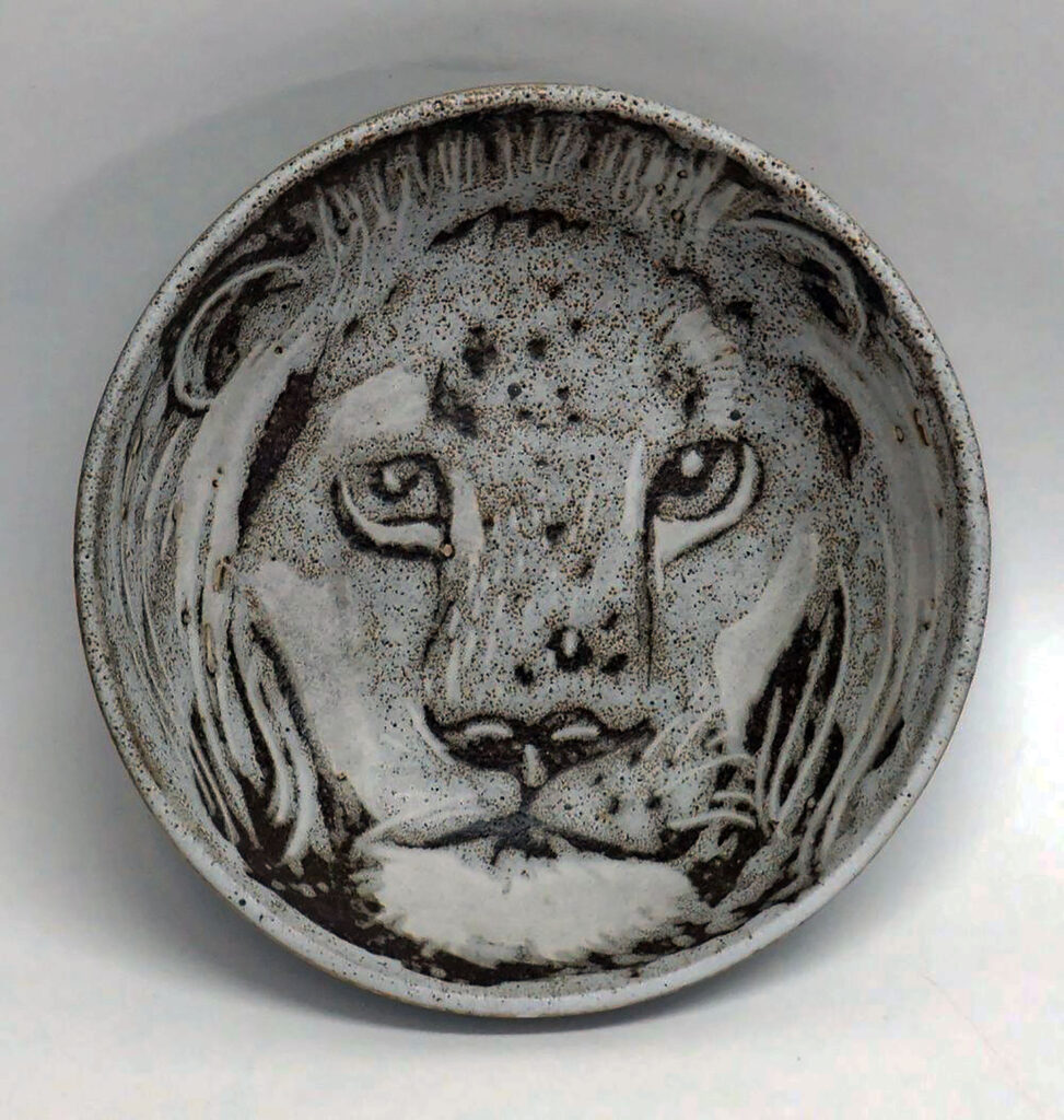 Vintage Eight Inch Bowl with Lion Portrait by Brendaa