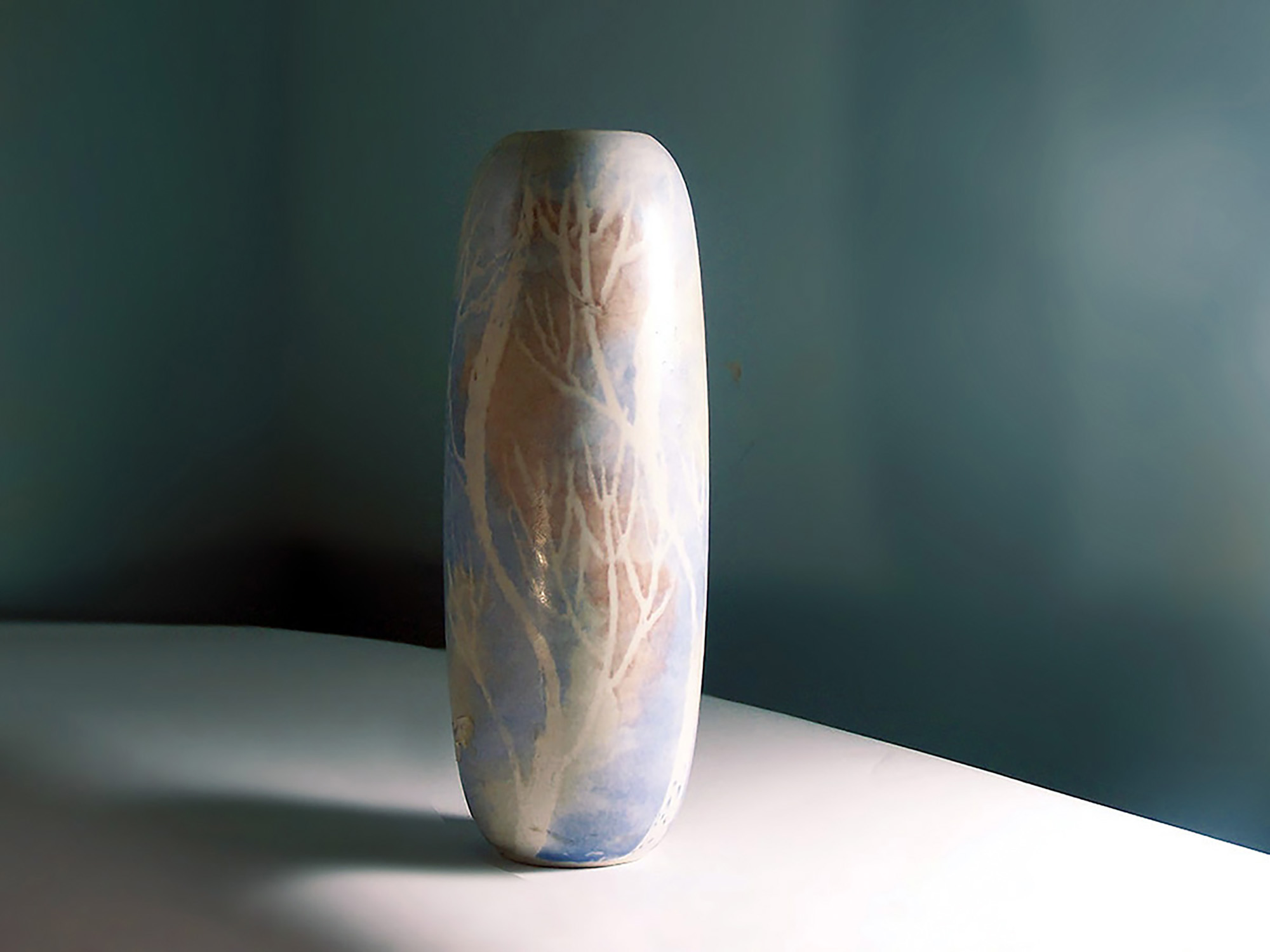 Bead Vase Blue Coral Birch by Brenda