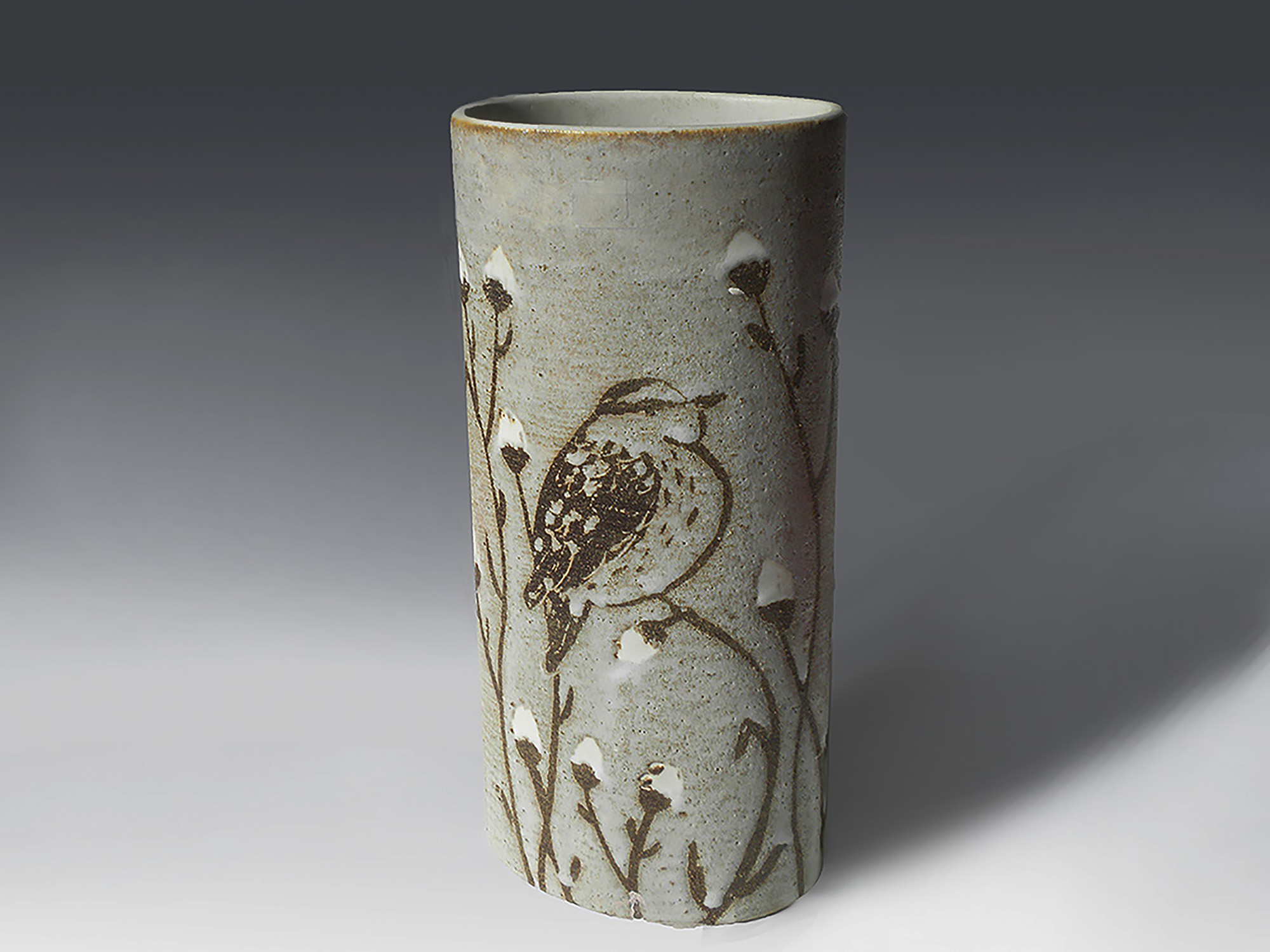 Tall Oval Cylinder Vase with Bird in a Bush
