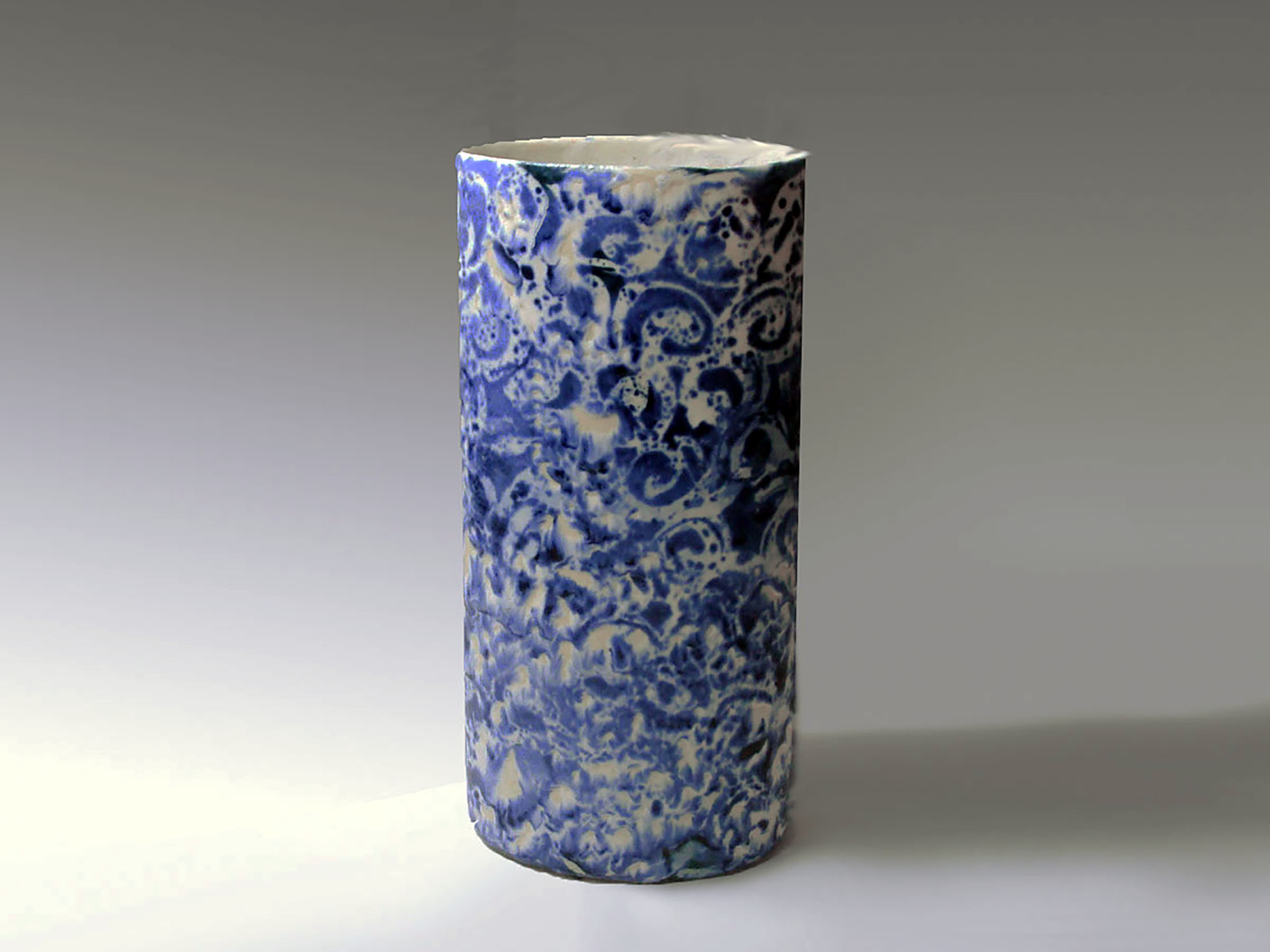 Tall Oval Cylinder Vase in One of a Kind Blue Spirals by Mackenzie