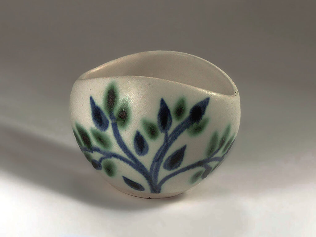 Vintage Sugar Bowl in Blue Green Leaf