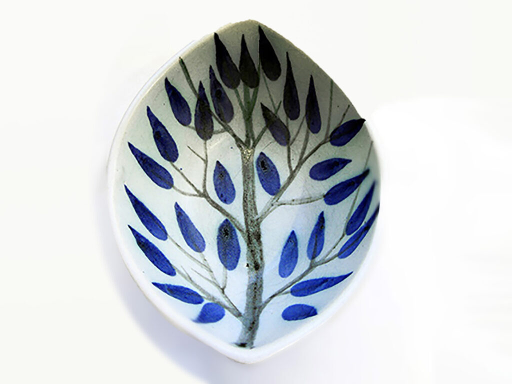 Boat Bowl in Blue Leaf painted by Brenda Andersen