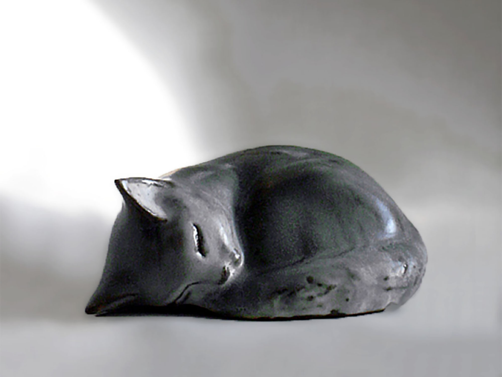 Curled Kitten Sculpture in Gray by Christine Thalia Andersen