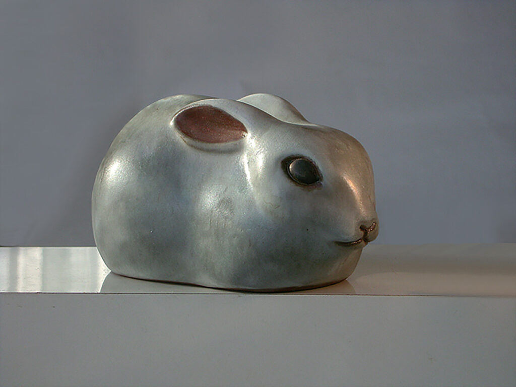 Rabbit with Ears Back in Gray