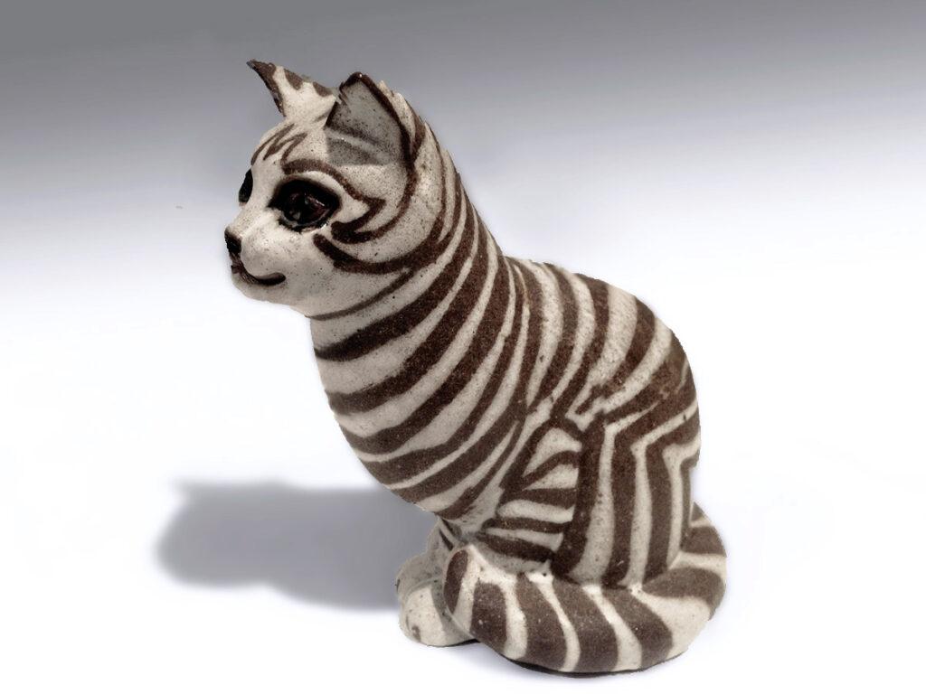 Sitting Cat By Brenda in Brown Stripe