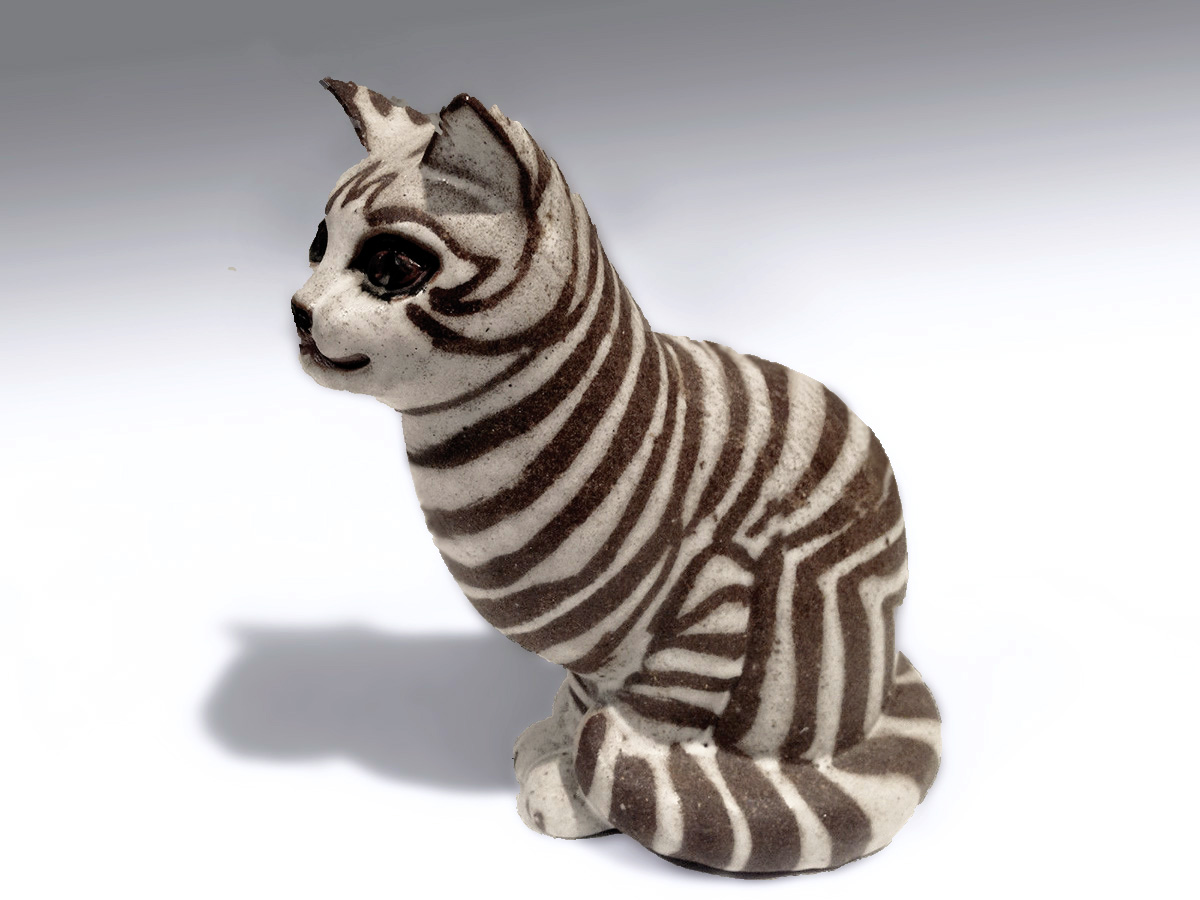 Sitting Cat By Brenda in Brown Stripe