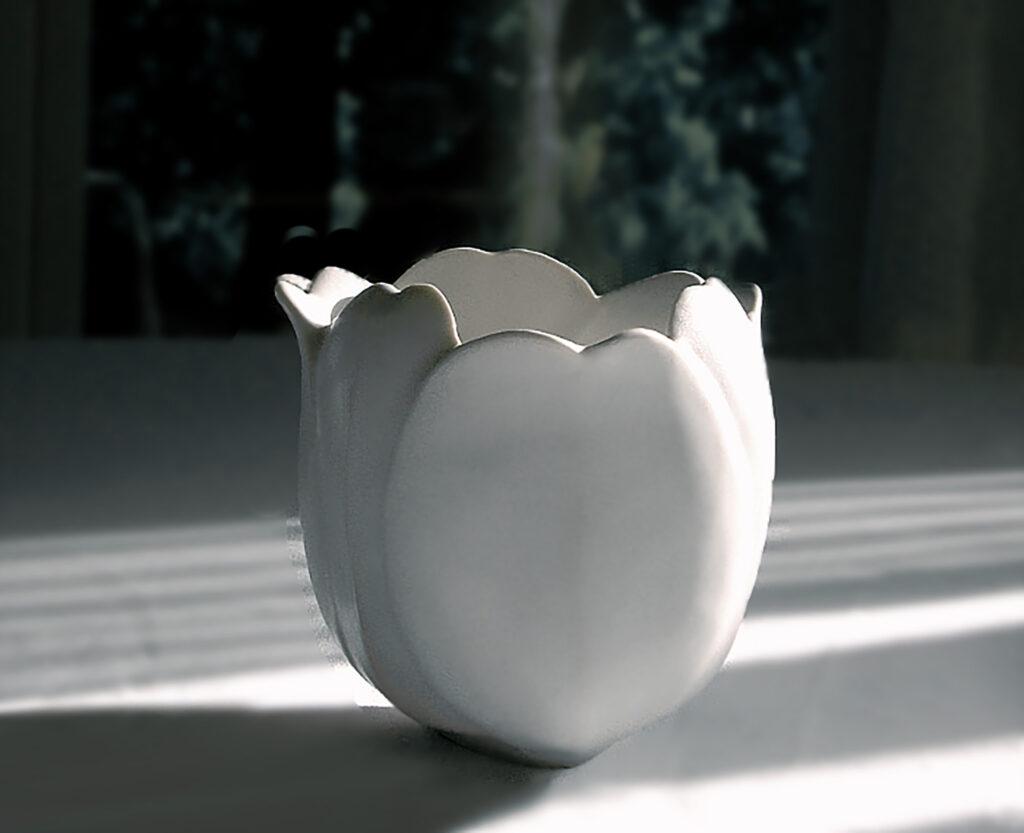 Ceramic Vase in the form of a Tulip glazed white