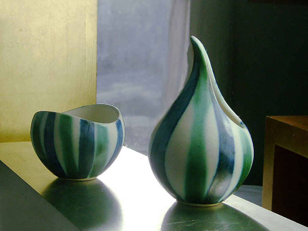 Creamer and Sugar Set Blue & Green Sripe