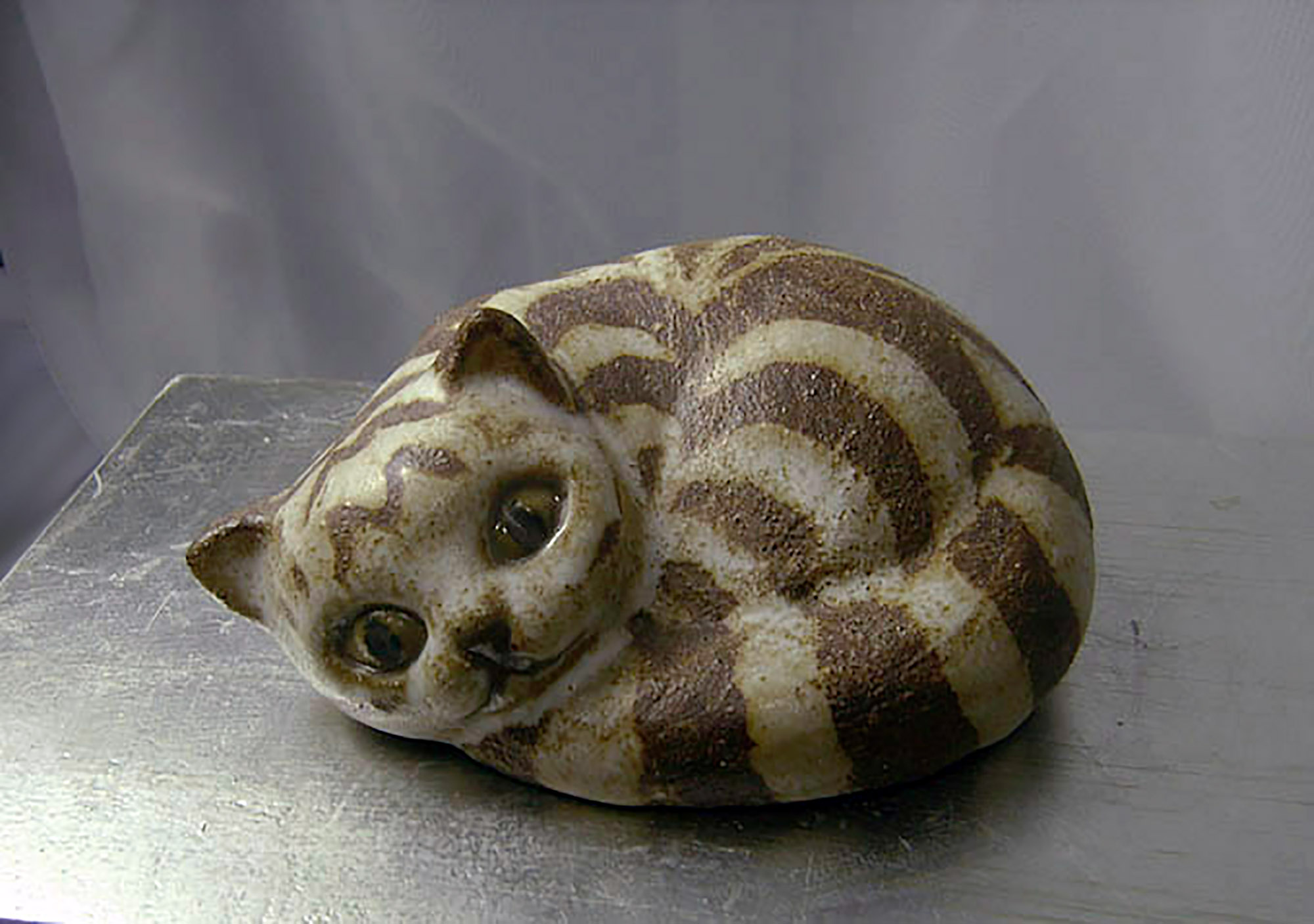 Curled Cat By Brenda in Brown Stripe