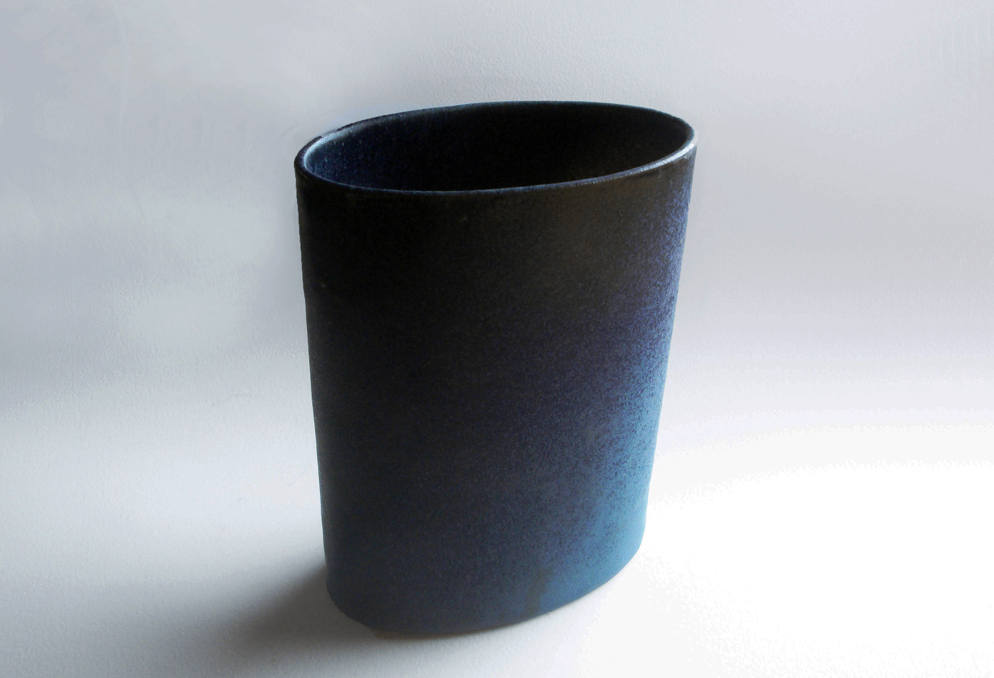 Short Oval Cylinder Vase in Blueberry Glaze