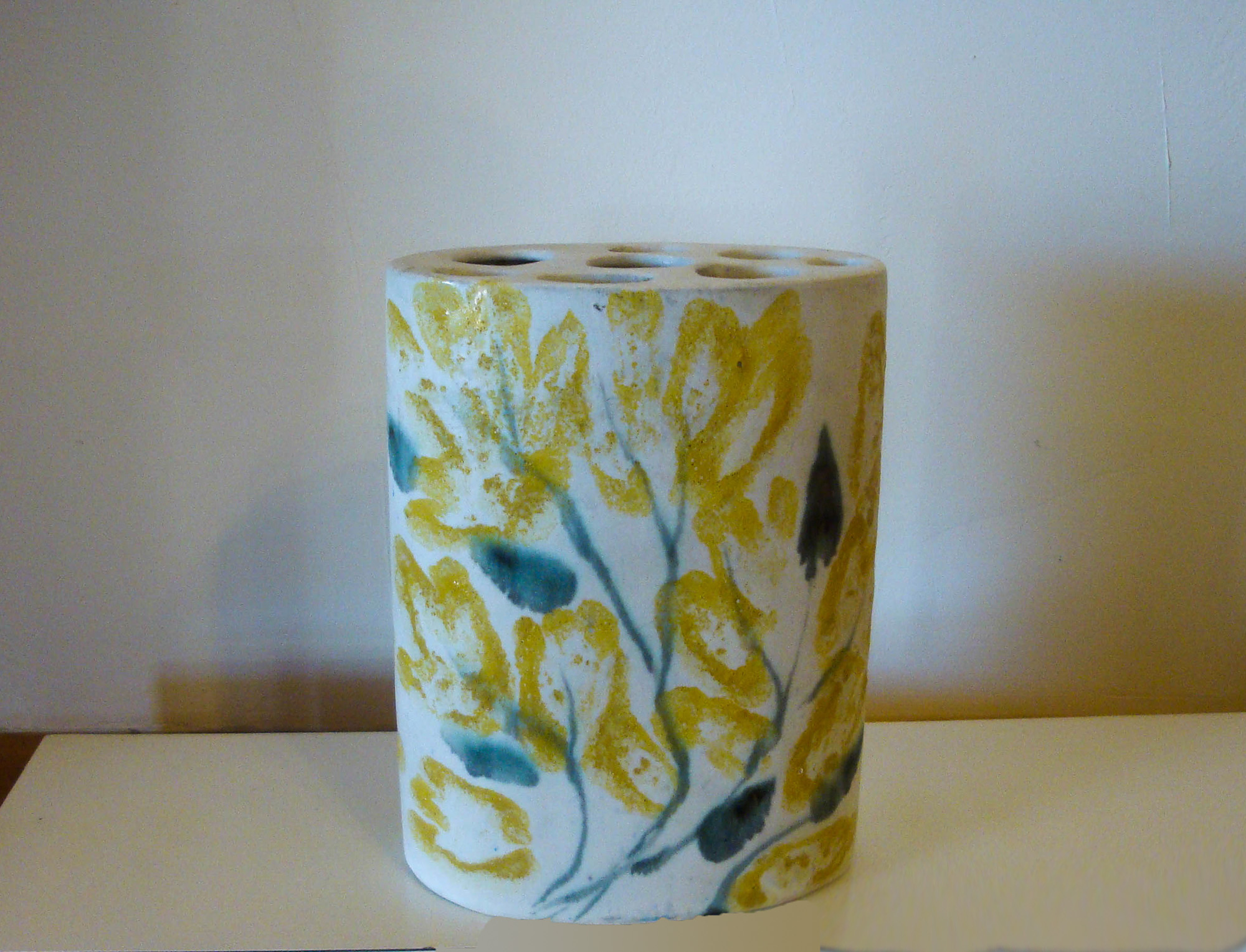 Short Oval Cylinder Vase in One of a Kind Decoration by Susan