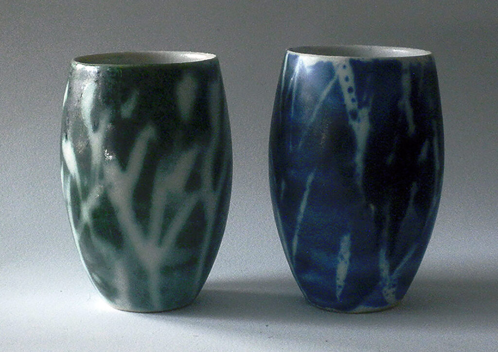Two Tumblers in Blue and Green & White Abstract Grass Patters