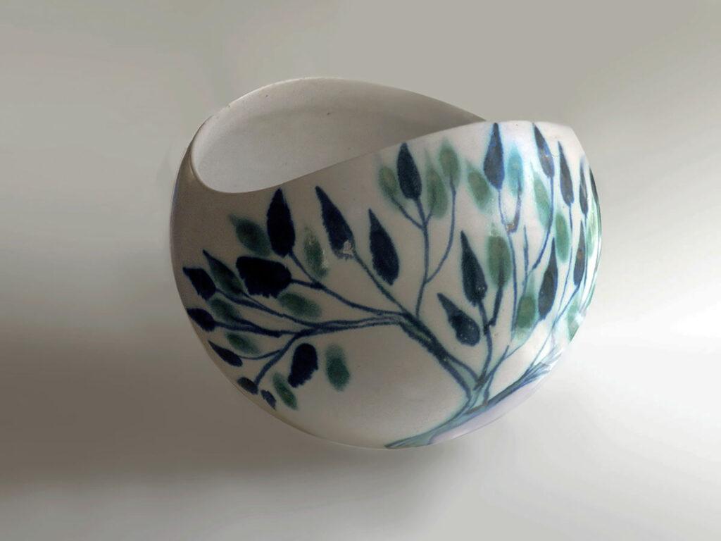 Large Salad Bowl decorated in Leaf Pattern By Brenda Andersen
