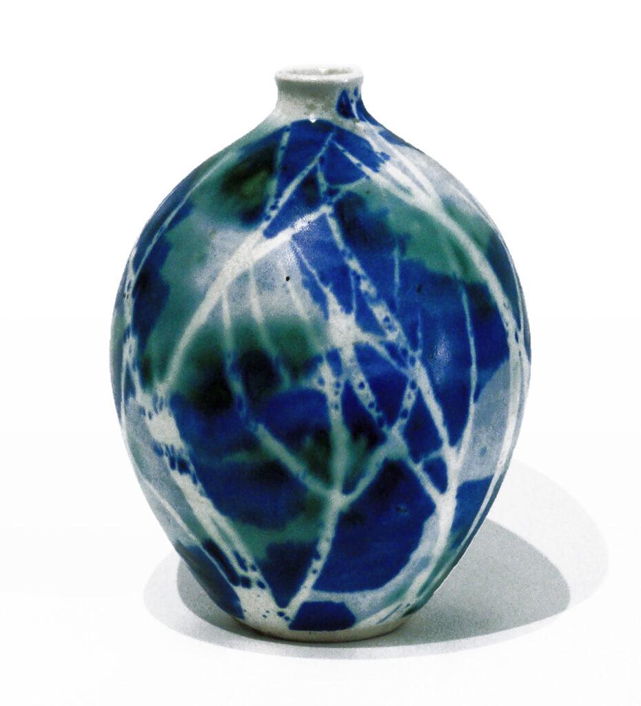 Egg Vase with lip in Blue Green Birch by Brenda