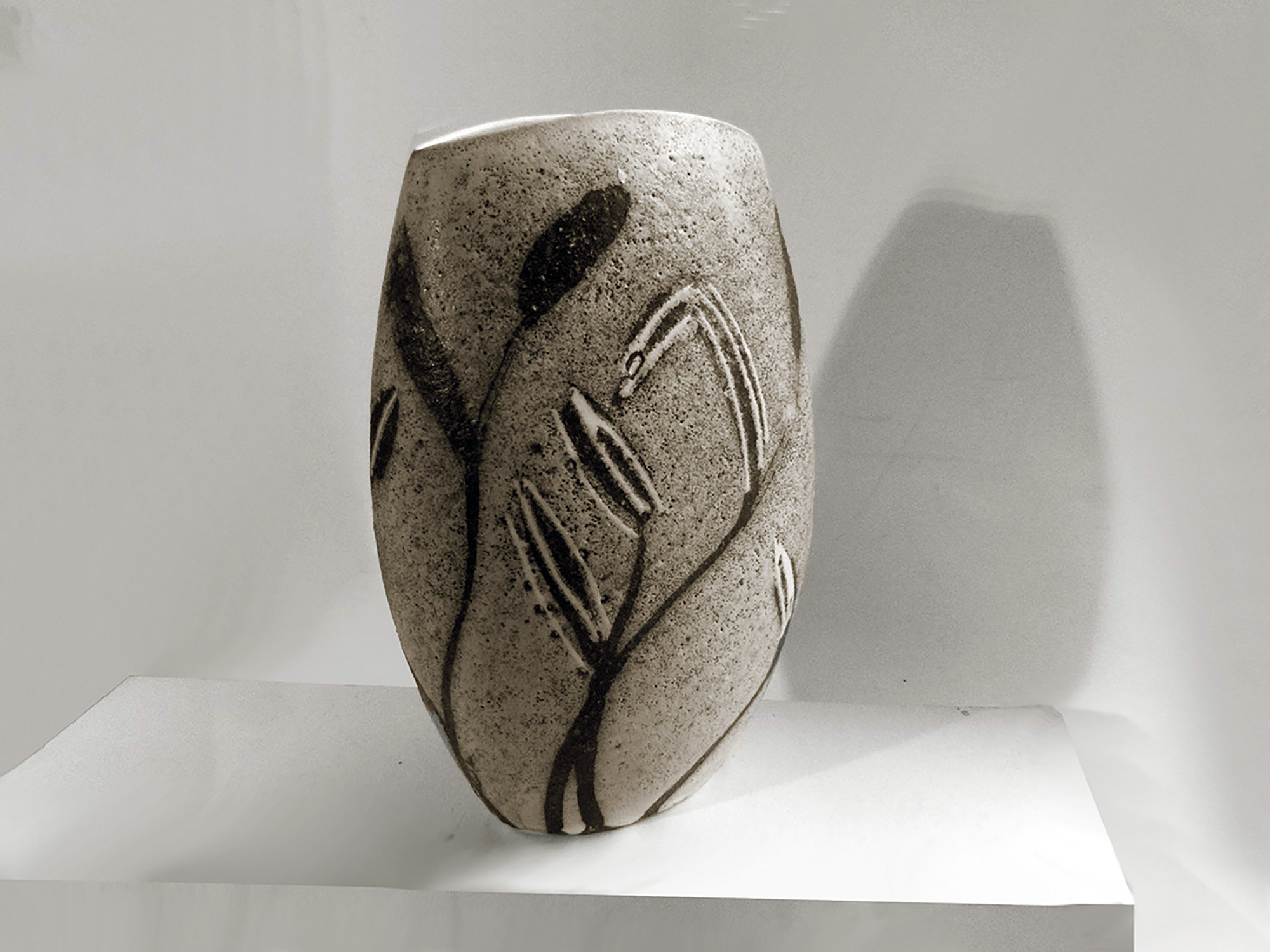 Reverse Oval Cycladic Vase in One of a Kind Leaf Pattern