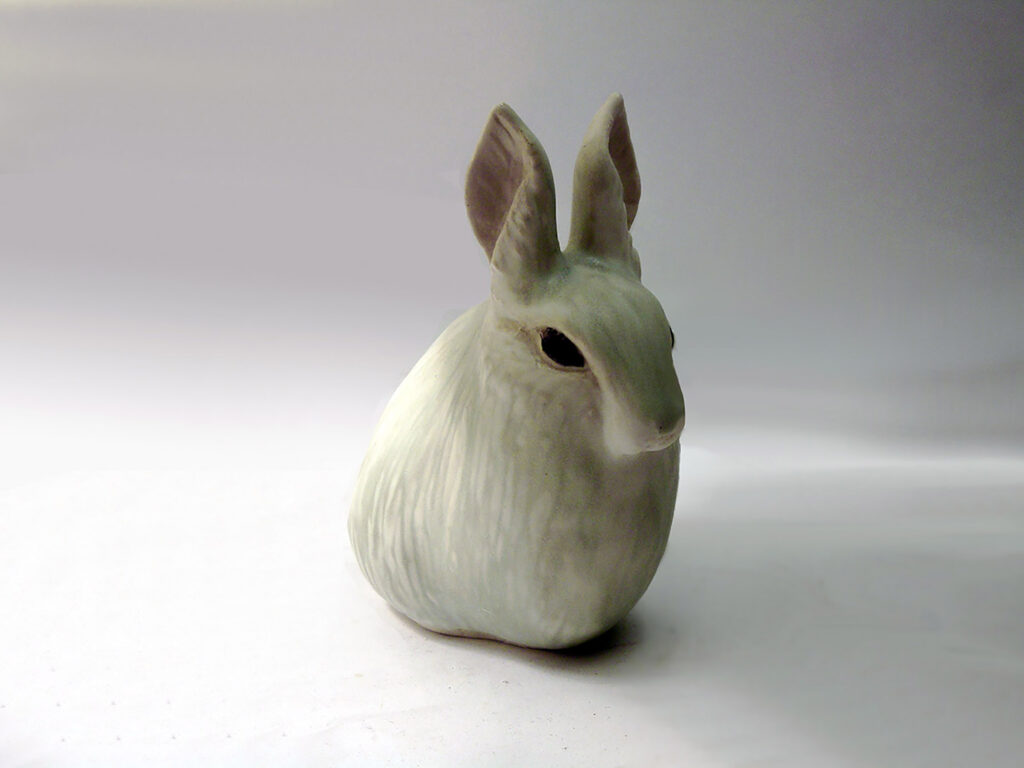 Carved Rabbit Ears Up Gray