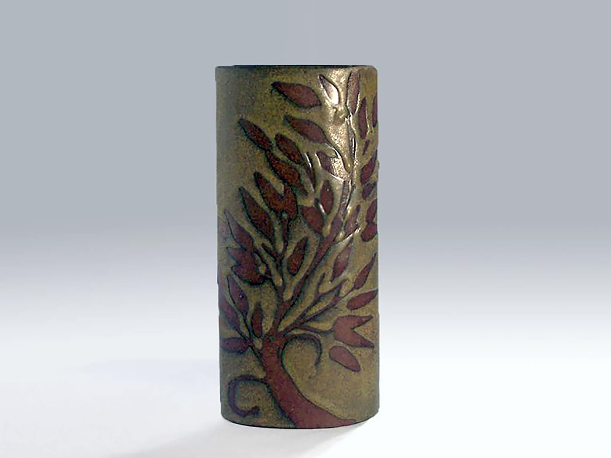 Tall Oval Cylinder Vase in Red Resist Leaf on Brown