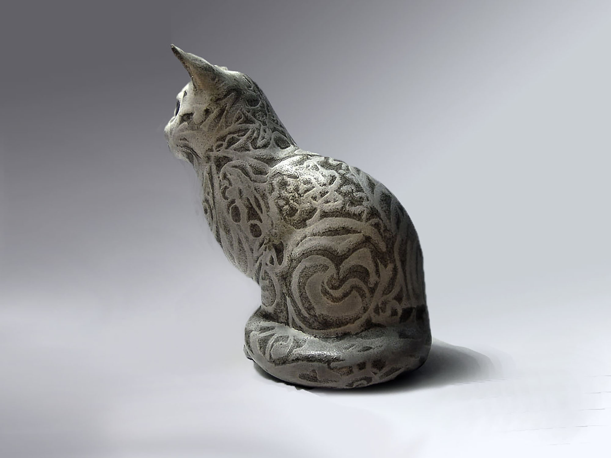 Sitting Cat By Brenda decorated by Gerda