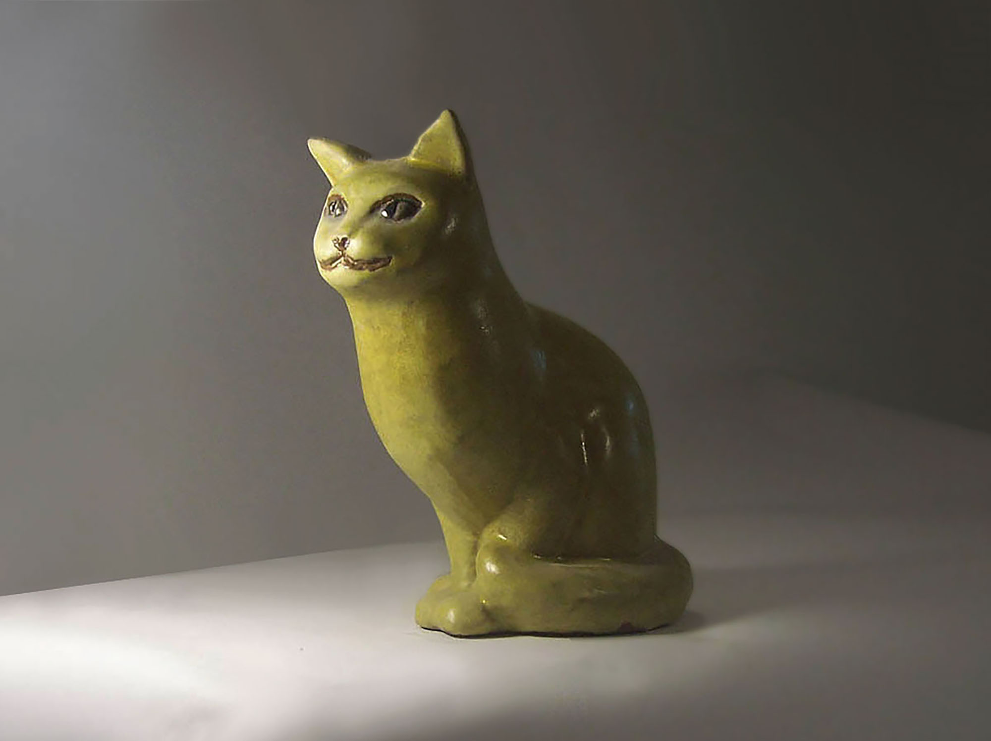 Sitting Cat by Brenda in Yellow Glaze