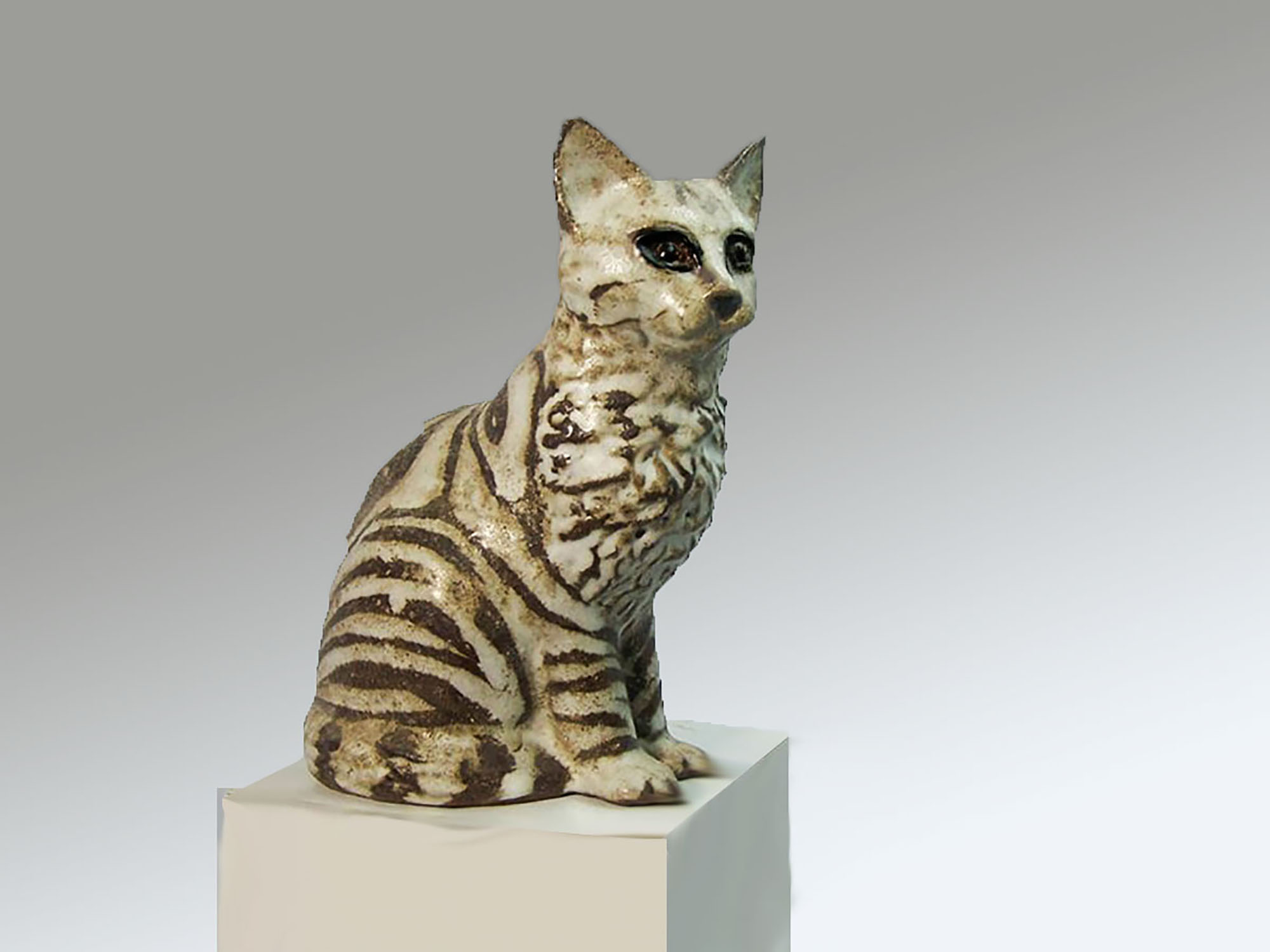 Sitting Cat by Christine in Brown Stripe