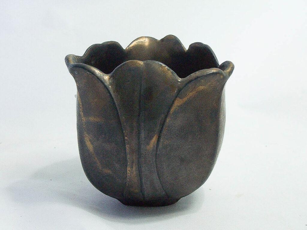 Stoneware Tulip Vase in Bronze