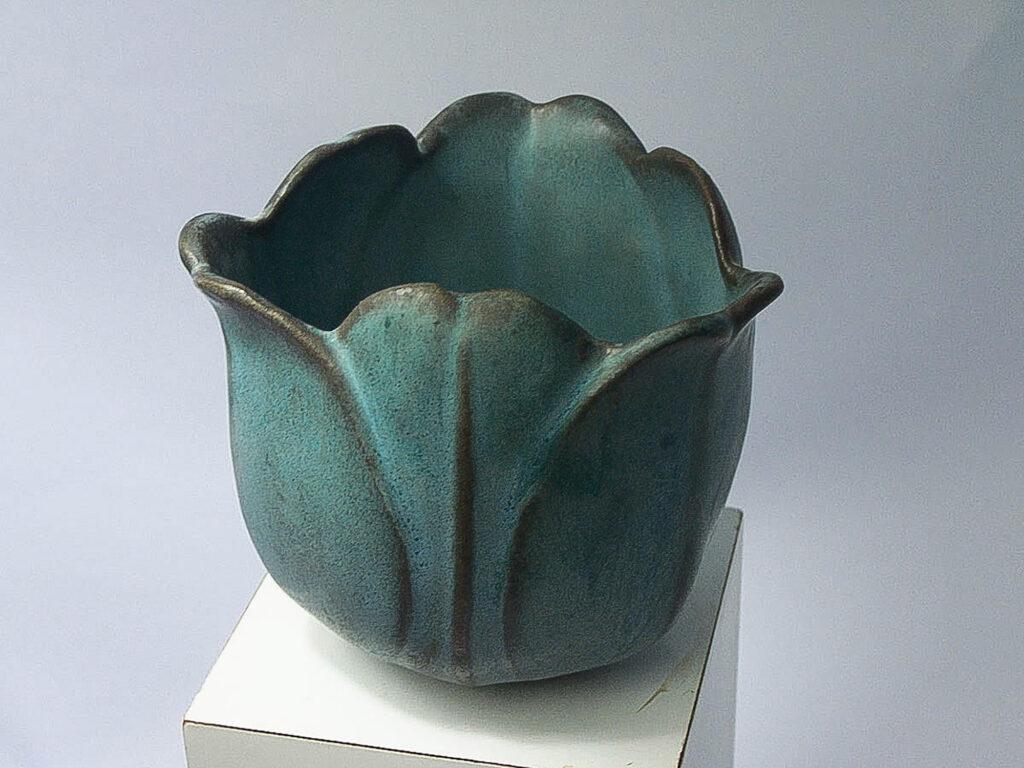 Stoneware Tulip Vase in Verdigris