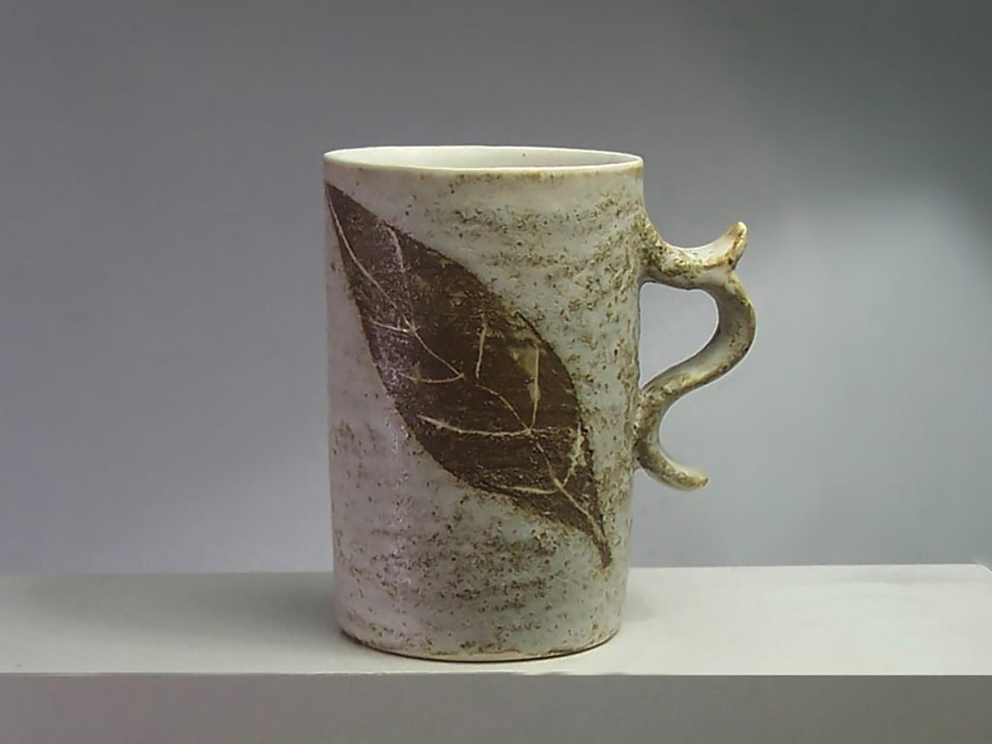 Tall Gingerbread Mug in Brown Lwaf Motif by Mackenzie