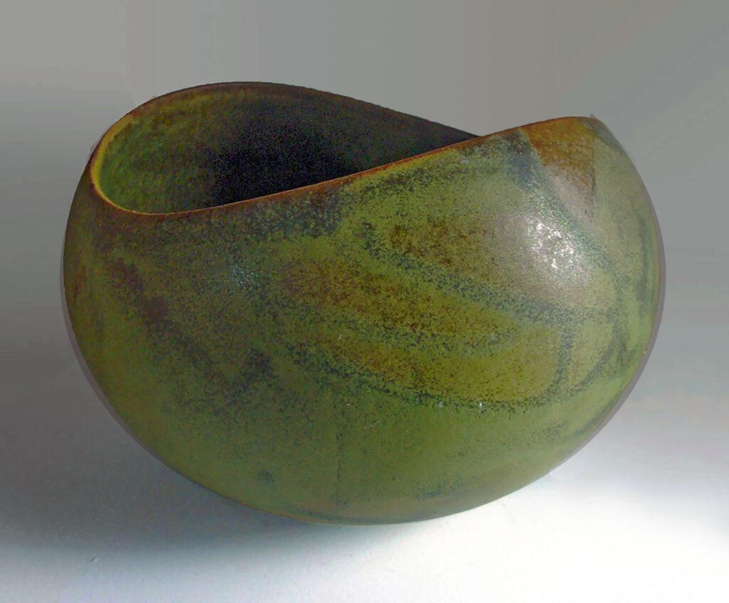 Vintage Medium Salad Bowl in Vatigated Green Moss Glaze by Weston Neil Andersen