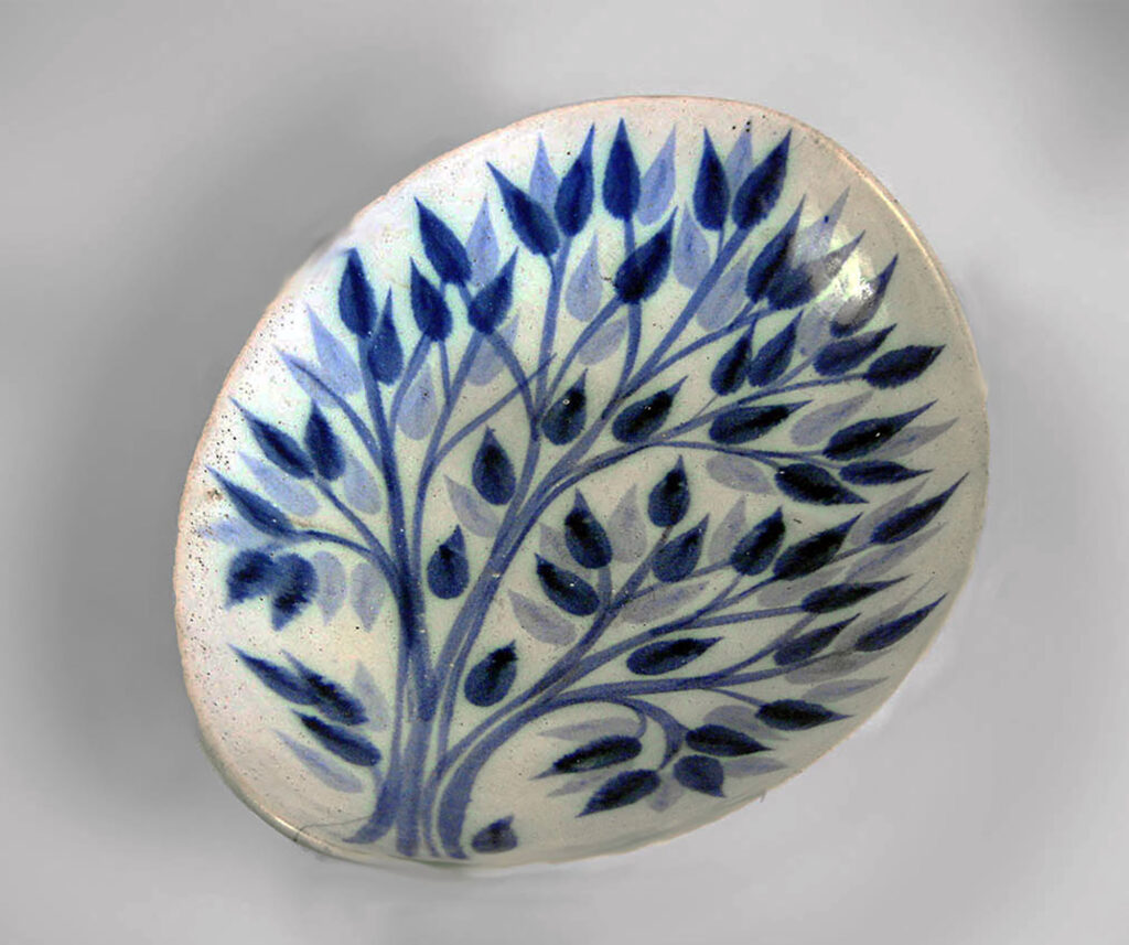 Vintage Oval Platter in Blue Leaf Pattern Painted by Brenda