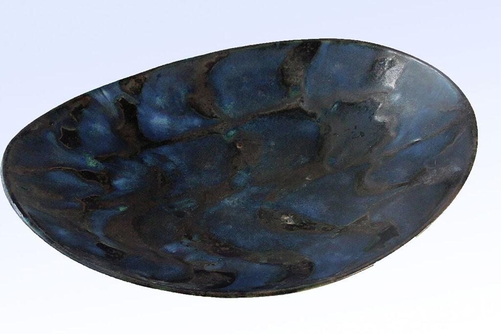 Vintage Oval Tray in Blue Ebony Pattern by Weston