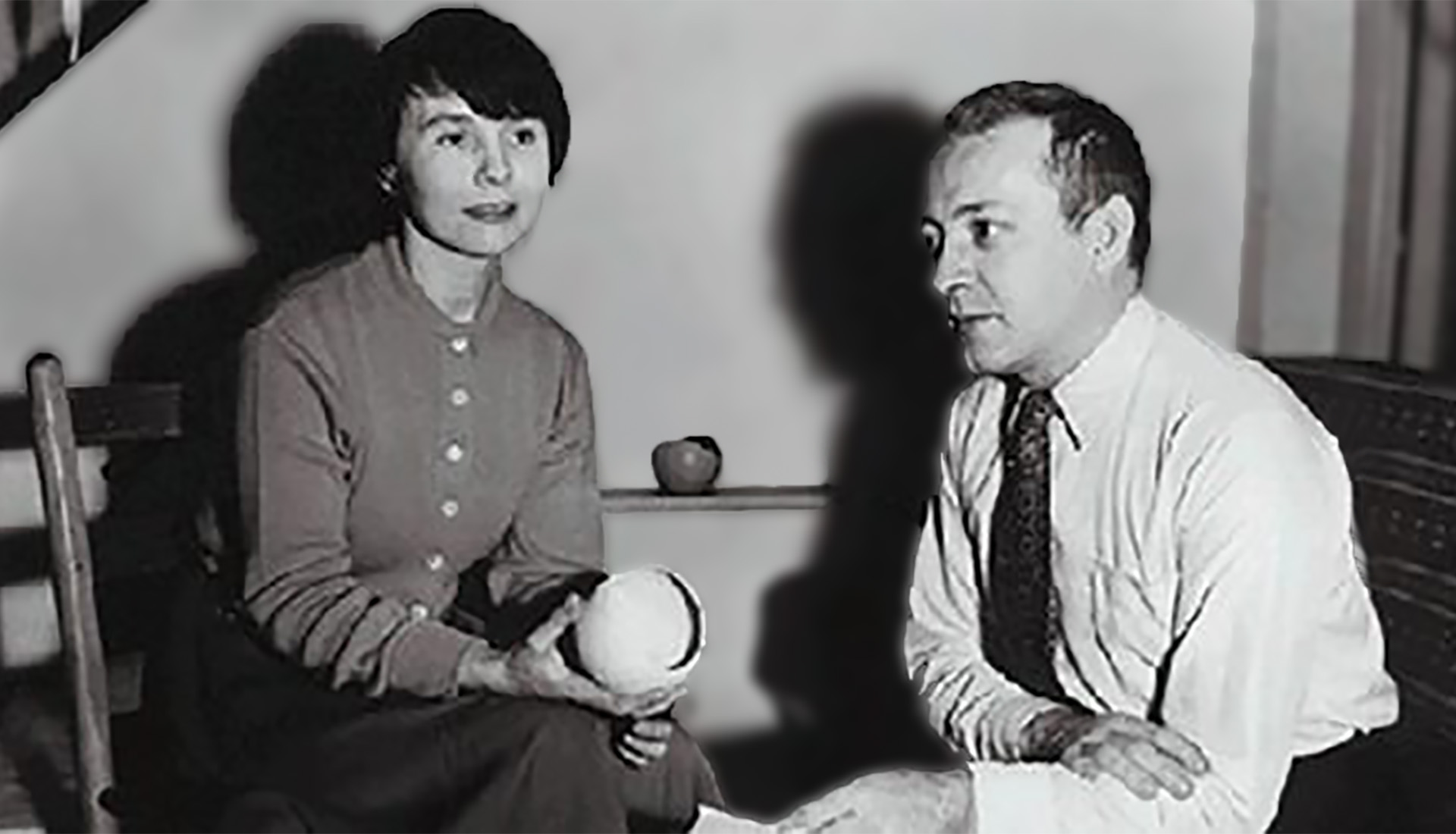 Weston and Brenda Andersen holding prototypes for their first line in their Ohio home in 1951