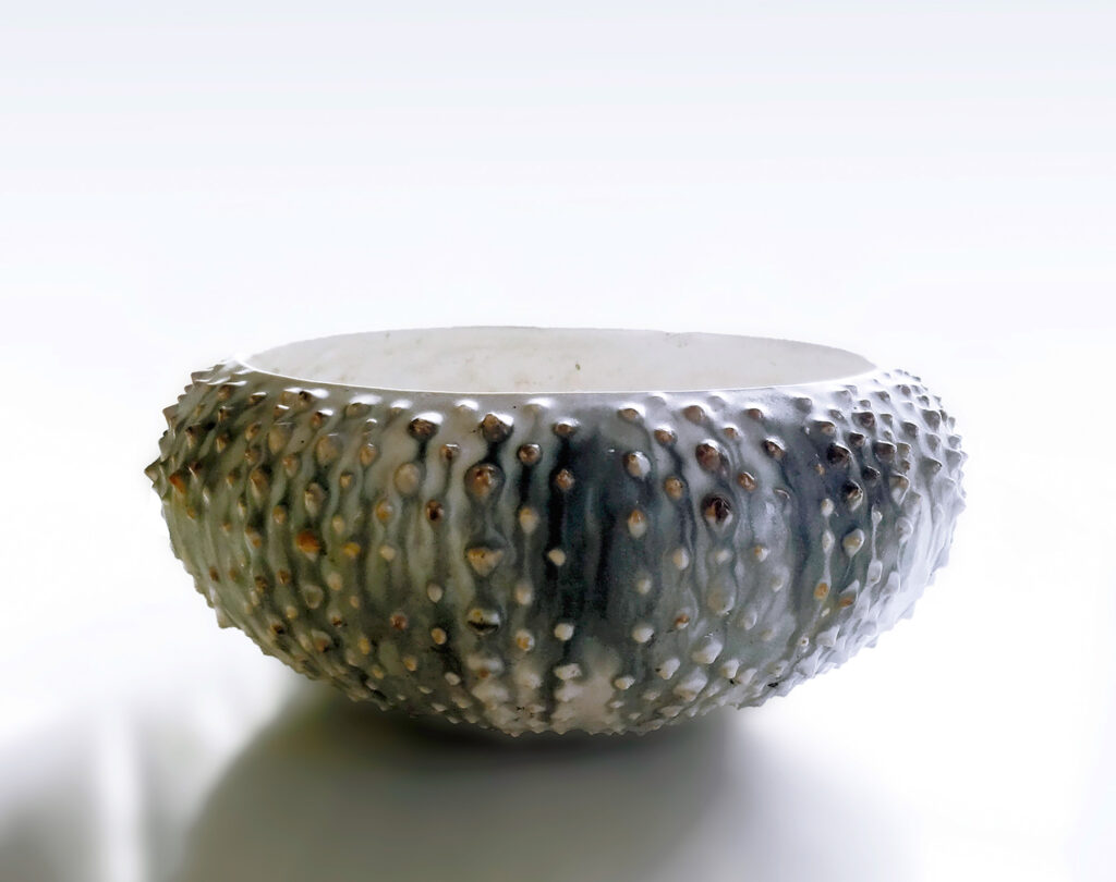 Large Sea Urchin Bowl in traditional gray, black and while finish