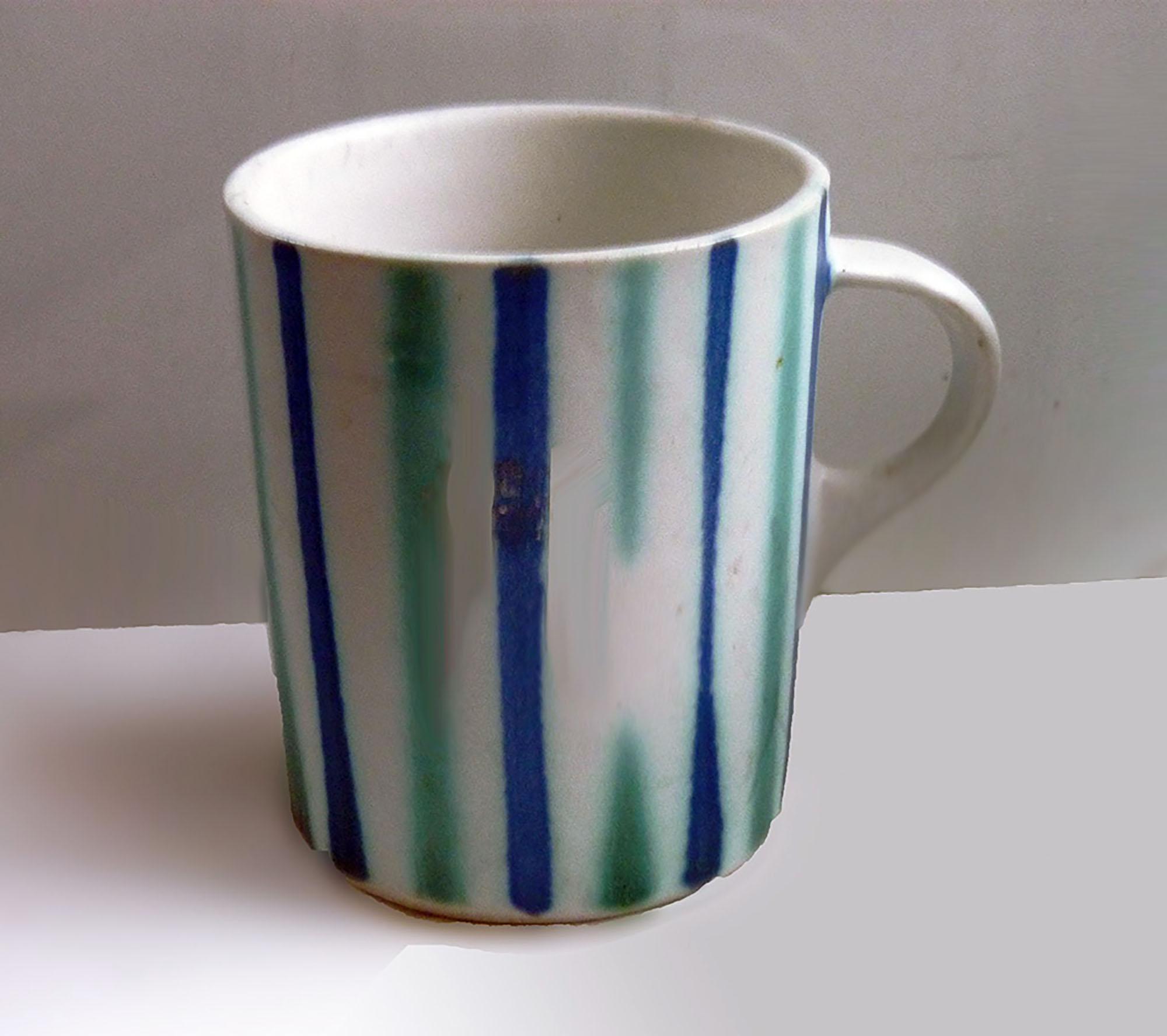 Vintage Straight Mug in Blue Green Stripes