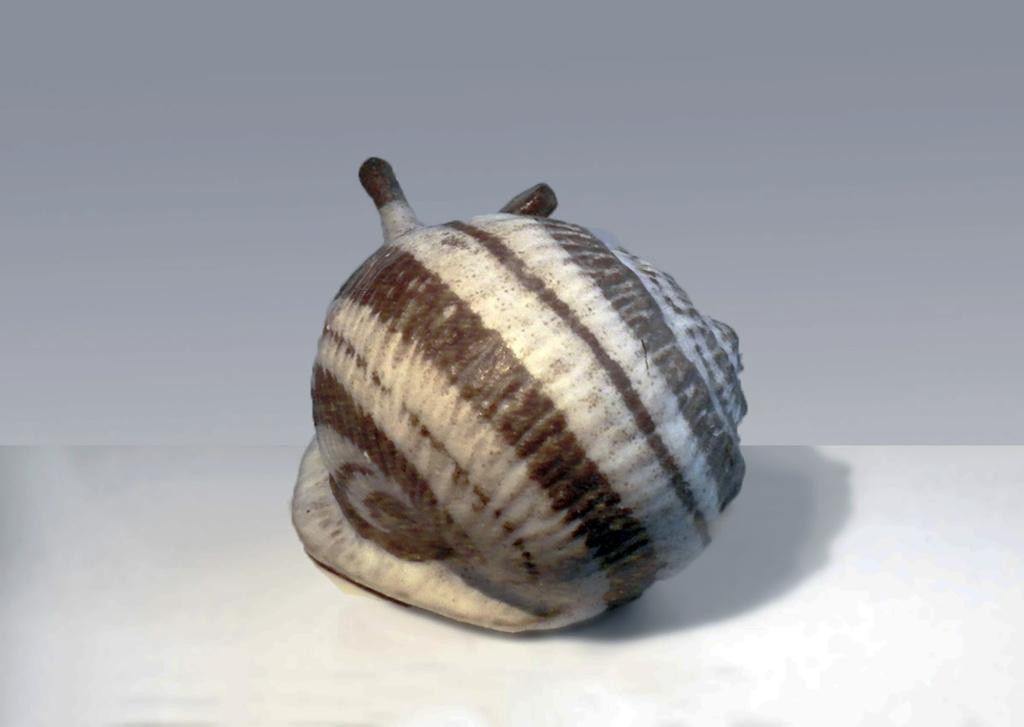 Stoneware Snail in Natural Brown Spiral Design