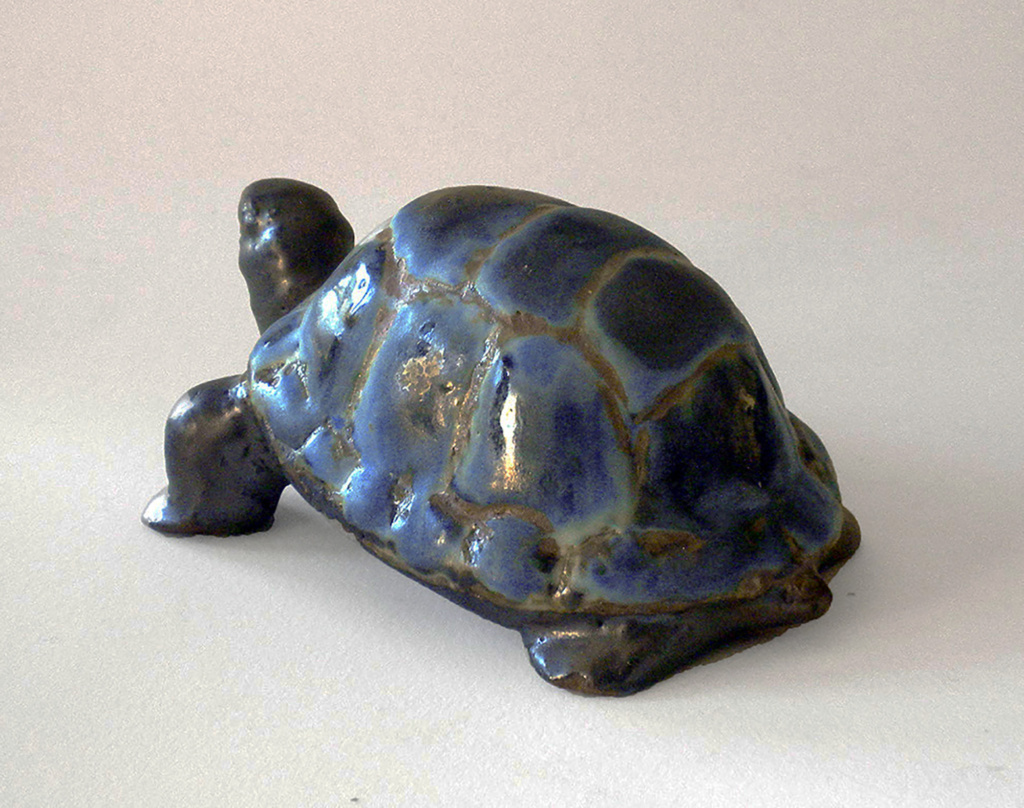 Stoneware Turtle in Blue and Ebony