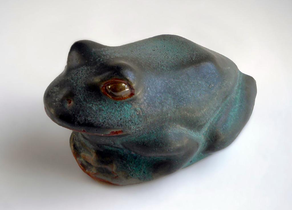 Frog in Verdigris Glaze