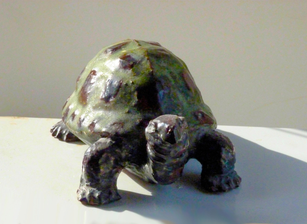 Stoneware Turtle in Green and Ebony