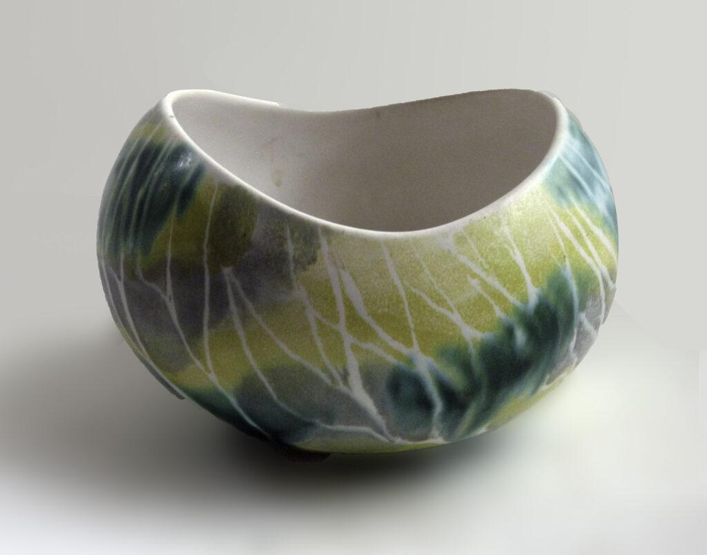 Vintage Medium Salqd Bowl in Green & Yellow Birch Tree Pattern by Brenda